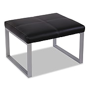 Alera® Reception Lounge Series Leather Cube Ottoman, Black/Silver