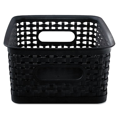 Advantus Plastic Small Weave Bins, Black, 3/Pack