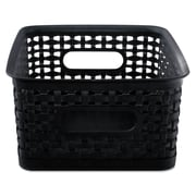 Advantus Plastic Small Weave Bins, Black, 3/Pack