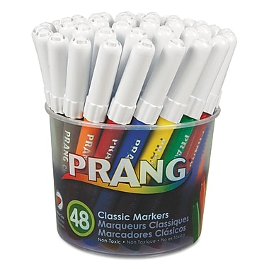 Dixon® Prang Classic Art Markers, Fine Tip, Assorted, 48/Set