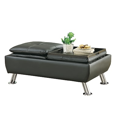 Coaster® Rectangle Faux Leather Ottoman With Reversible Tray Tops, Black