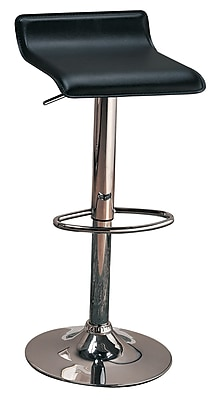 """""Coaster 29"""""""" Metal Low Back Upholstered Bar Stool With Adjustable Height, Black/Chrome"""""" 909952"