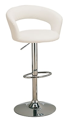 """""""""""Coaster 29"""""""""""""""" Metal Low Back Upholstered Bar Stool With Adjustable Height, White/Chrome"""""""""""" 909953"""