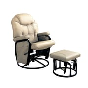Coaster® Leatherette Deluxe Swivel Glider Recliner With Matching Ottoman, Bone