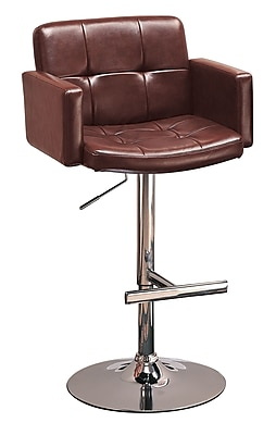 """""""""""Coaster 29"""""""""""""""" Steel Mid Back Upholstered Bar Stool With Adjustable Height, Brown/Chrome"""""""""""" 909515"""
