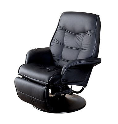 Coaster® Berri Leatherette Swivel Recliner With Flared Arms, Black