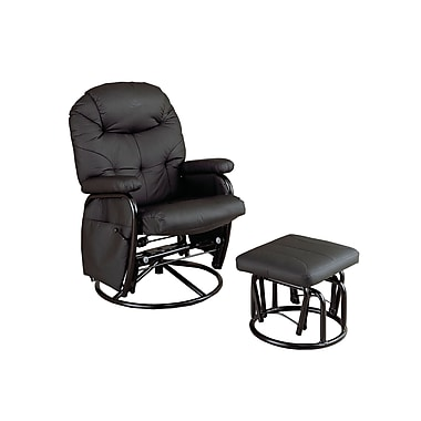 Coaster® Leatherette Deluxe Swivel Glider Recliner With Matching Ottoman, Black