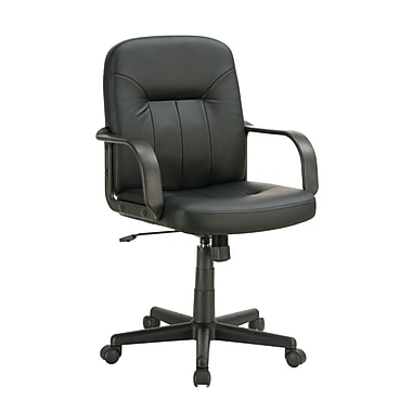Coaster Leather Executive Office Chair, Fixed Arms, Black (800049)