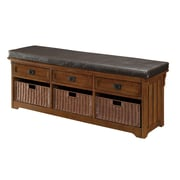 "Coaster® 20"" x 16"" x 60"" Large Wood Storage Bench with Baskets, Medium Brown"