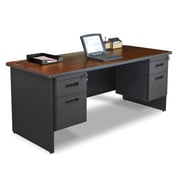 "Marvel® Pronto® 72"" x 36"" Double Pedestal Desk; Mahogany/Dark Neutral"