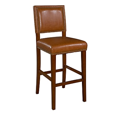 Linon Brook Vinyl Padded Bar Stool, Caramel