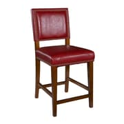 Linon Brook Vinyl Padded Bar Stool, Red