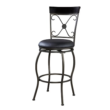 Linon Basque Vinyl Adjustable Stool, Dark Brown
