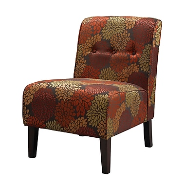 Linon Fabric Slipper Chair, Red/Orange (36096HAR-01-KD-U)