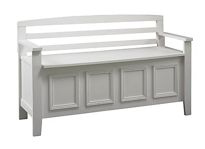 Linon Laredo Wood Storage Bench White