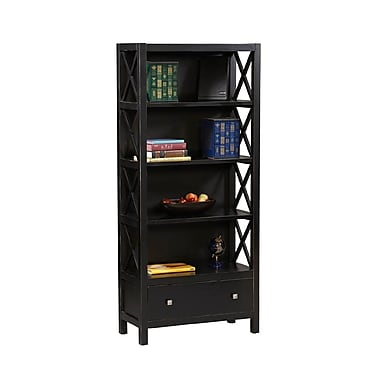 Linon Anna 5-Shelf Bookcase, Antique Black Wood
