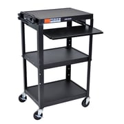 "Luxor Adjustable Height Steel Cart with Pullout Keyboard Tray, 25"" x 19"" x 22"""