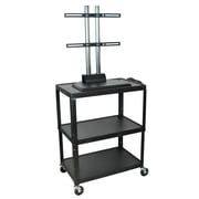 Luxor® XL Adjustable-Height AV Cart with LCD Mount, Black Steel