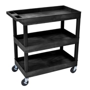 Luxor® E Series 3 Shelves Tub Utility Cart, Black