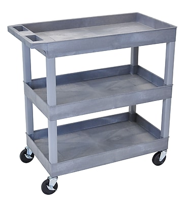 Luxor® E Series 3 Shelves Tub Utility Cart, Gray