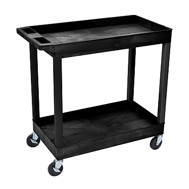 Luxor® E Series 2 Shelves Utility Tub Cart, Black