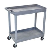 Luxor® E Series 2 Shelves Utility Tub Cart, Gray