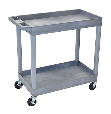 Luxor® E Series 2 Shelves Utility Tub Cart, Gray
