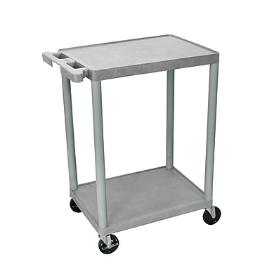Luxor® HE 2 Shelves Utility Cart, Gray