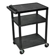 "Luxor® 34""(H) LP 3 Shelves Mobile Presentation AV Cart With 3 Outlet Electric, Black"