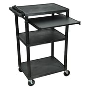 Luxor® LP 3 Shelves Mobile Presentation AV Cart With 3 Electrical Outlets, Black