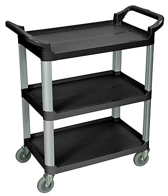 Luxor® 3 Shelves Dual Handle Serving Cart, Black