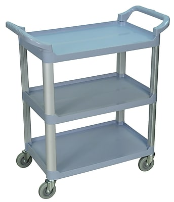 Luxor 3 Shelves Dual Handle Serving Cart, Gray 236728
