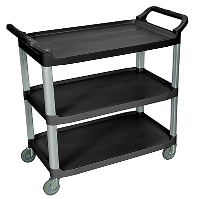 Luxor 3 Shelves Dual Handle Large Serving Cart, Black 236729