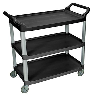 Luxor® 3 Shelves Dual Handle Large Serving Cart, Black