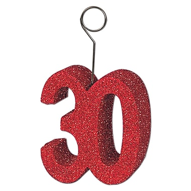 Porte photos/ballons « 30 », rouge scintillant, 3/paquet