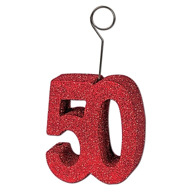 Porte photos/ballons « 50 », rouge scintillant, 3/paquet