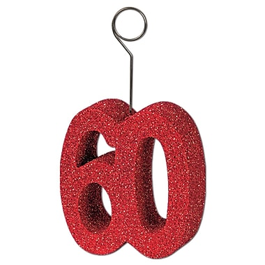 Porte photos/ballons « 60 », rouge scintillant, 3/paquet