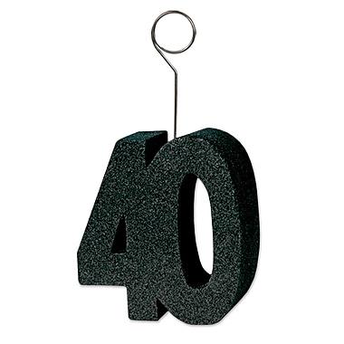 Porte-photos/ballons « 40 » avec paillettes noires, 3/paquet
