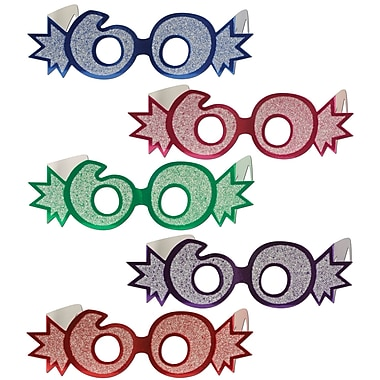 Lunettes « 60 » avec paillettes, taille quasi universelle, 25/paquet