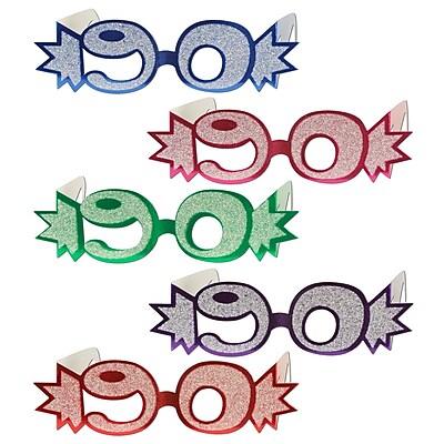 Beistle 90 Glittered Foil Eyeglasses, Assorted, 25/Pack