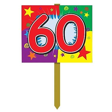 Panneau d'anniversaire de jardin « 60 », 12 po x 15 po, 4/paquet
