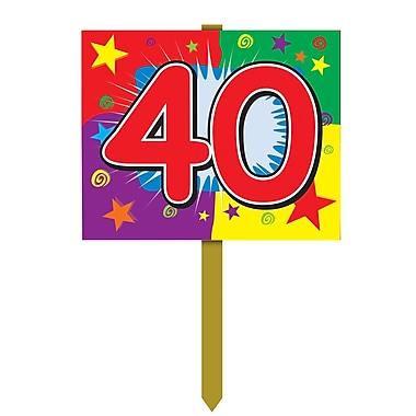 Panneau d'anniversaire de jardin « 40 », 12 po x 15 po, 4/paquet