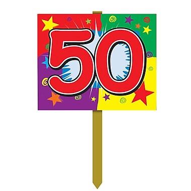 Panneau d'anniversaire de jardin « 50 », 12 po x 15 po, 4/paquet