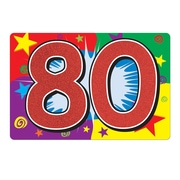 "Glittered ""80"" Sign, 10"" x 15"", 6/Pack"