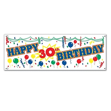 Happy 30th Birthday Sign Banner, 5' x 21