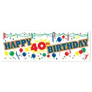 """Happy 40th Birthday Sign Banner, 5' x 21"""", 3/Pack"""