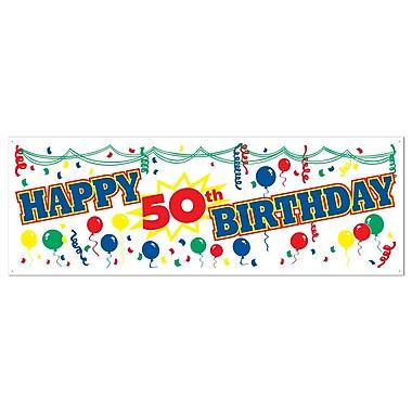 Affiche bannière « Happy 50th Birthday », 5 pi x 21 po, 3/paquet
