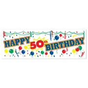 "Happy 50th Birthday Sign Banner, 5' x 21"", 3/Pack"