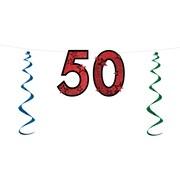 """""""50"""" Glittered Streamer, 15"""" x 7', 3/Pack"""
