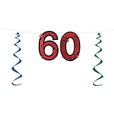 Banderole scintillante « 60 », 15 po x 7 pi, 3/paquet